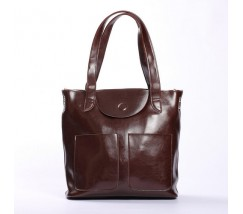 Большая женская кожаная сумка коричневая