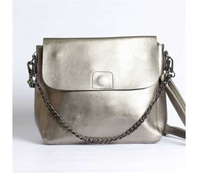 Женская небольшая кожаная сумка серебро