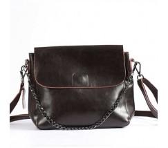 Женская небольшая кожаная сумка коричневая