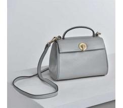 Маленька сумка жіноча сіра з натуральної шкіри