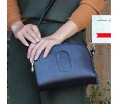 Жіноча сумка маленька шкіряна синя з кісточкою