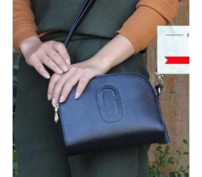 Женская сумка маленькая кожаная синяя с кисточкой