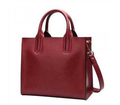 Женская сумка большая классическая красная кожаная