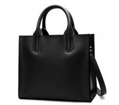 Женская сумка большая классическая черная кожаная