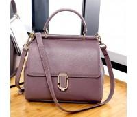 Жіноча шкіряна сумка фіолетова середнього розміру