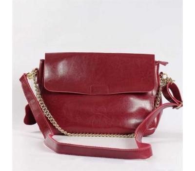 Женская небольшая кожаная сумка красная