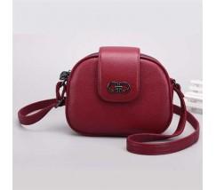 Кожаная женская сумка полукруглая маленькая красная