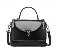 Каркасна жіноча сумка чорна з натуральної шкіри