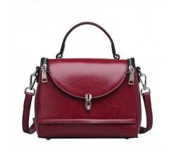 Каркасна жіноча сумка бордова з натуральної шкіри