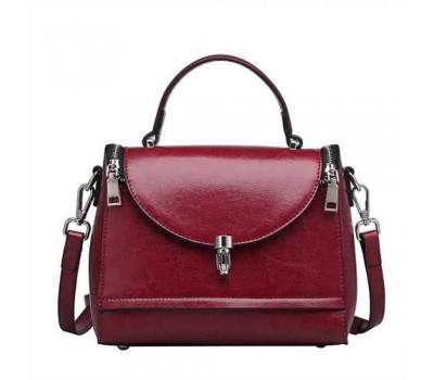 Каркасная женская сумка бордовая из натуральной кожи