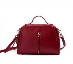 Женская сумка красная через плечо кожаная