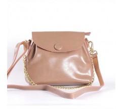 Женская сумка из натуральной кожи с пуговкой бежевая