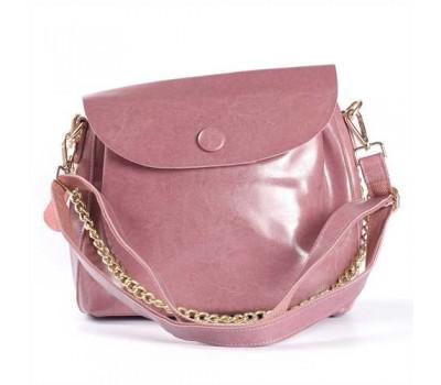 Женская сумка из натуральной кожи с пуговкой розовая