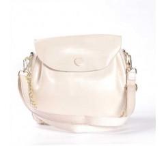 Женская сумка из натуральной кожи с пуговкой белая