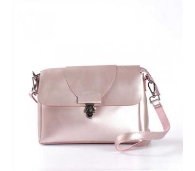Женская сумка кожаная розово-перламутровая