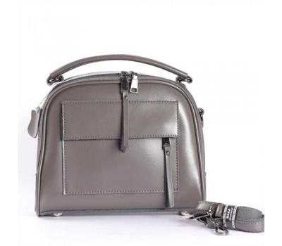 Женская кожаная сумка серая