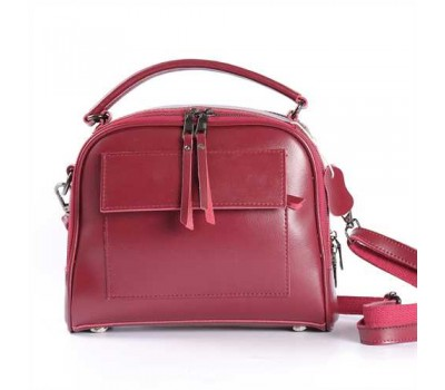 Женская кожаная сумка бордовая