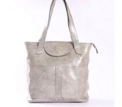 Велика жіноча шкіряна сумка сіра