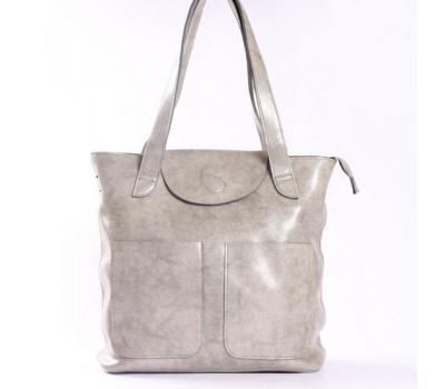 Большая женская кожаная сумка серая