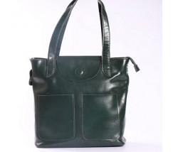 Большая женская кожаная сумка зеленая