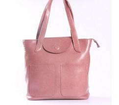 Велика жіноча шкіряна сумка рожева