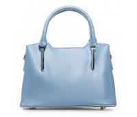 Элегантная женская сумка с кожи голубая