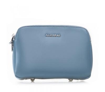 Женская кожаная сумка клатч голубая