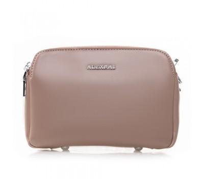 Женская кожаная сумка клатч розовая