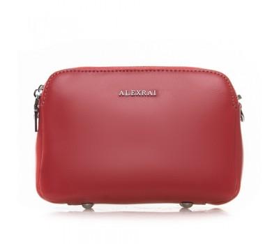 Женская кожаная сумка клатч красная