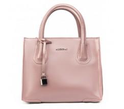 Кожаная женская сумка розовая