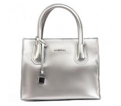 Кожаная женская сумка серебристая