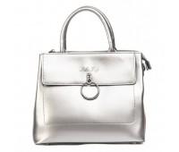 Стильная кожаная женская сумка серебристая
