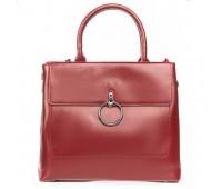 Стильная кожаная женская сумка красная