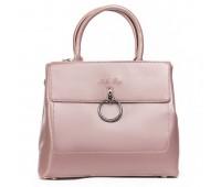 Стильная кожаная женская сумка розовая