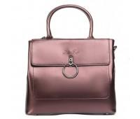 Стильная кожаная женская сумка бронзовая