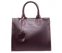 Вместительная кожаная женская сумка бордовая