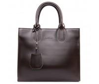 Вместительная кожаная женская сумка коричневая