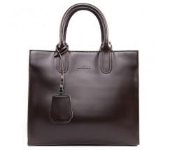 Містка шкіряна жіноча сумка коричнева