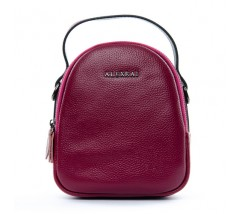 Компактна шкіряна сумочка малинова