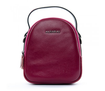 Компактная кожаная сумочка малиновая