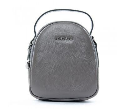 Компактная кожаная сумочка серая