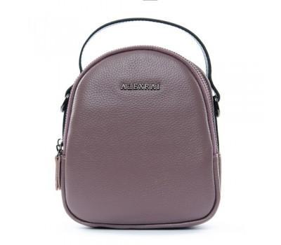 Компактная кожаная сумочка фиолетовая