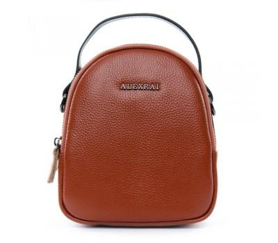 Компактная кожаная сумочка коричневая