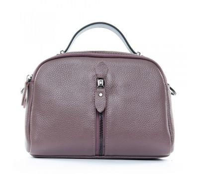 Женская небольшая кожаная сумка фиолетовая