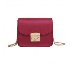 Женская мини сумочка на цепочке бордовая