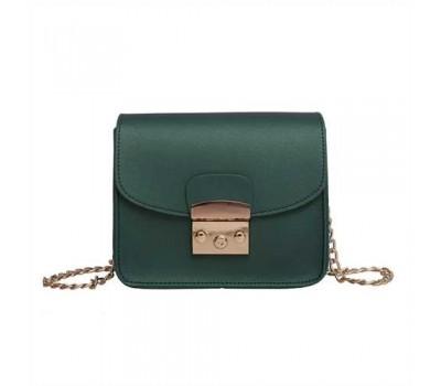 Женская мини сумочка на цепочке зеленая