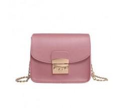 Женская мини сумочка на цепочке розовая
