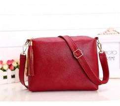 Женская сумка красная из мягкой экокожи