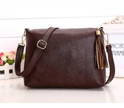 Женская сумка коричневая из мягкой экокожи