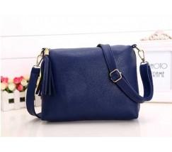 Женская сумка синяя из мягкой экокожи